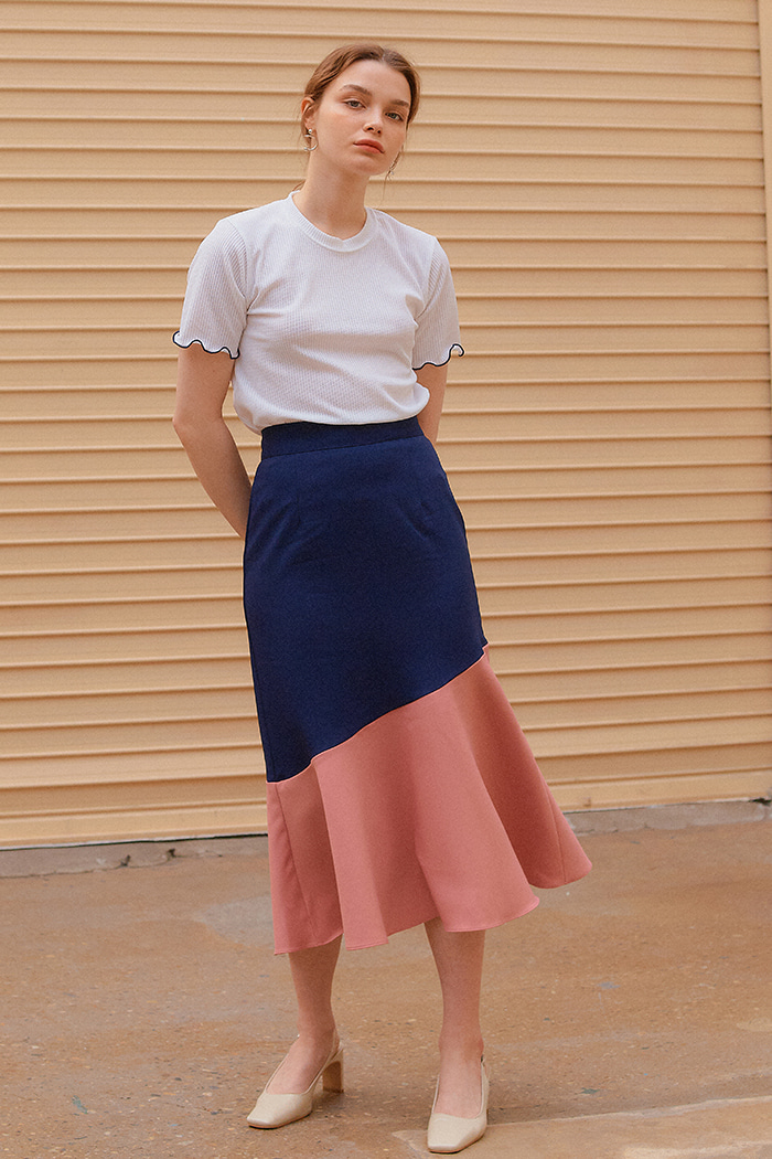 COLOR BLOCK FLARE SKIRT_NAVY